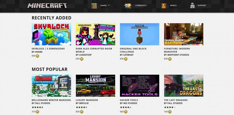 Minecraft Marketplace web page (Image via Mojang)