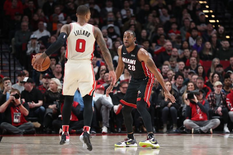 Damian Lillard of the Portland Trail Blazers in NBA action against the Miami Heat
