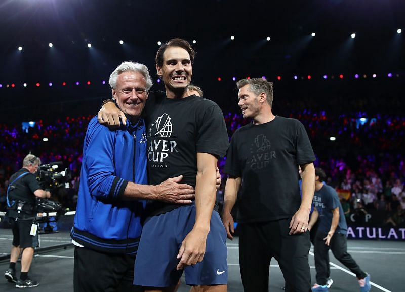 Rafael Nadal and Bjorn Borg at the Laver Cup in 2019