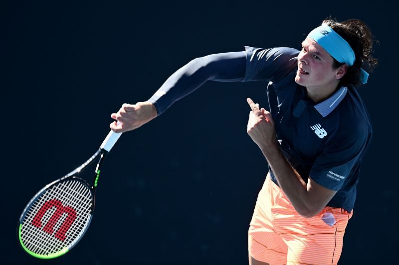 Milos Raonic will rely on his big serve to score quickfire points.