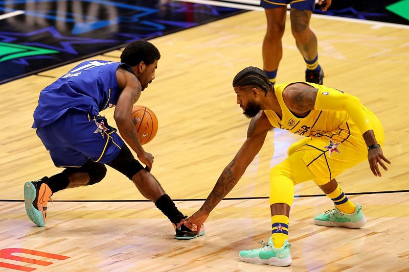Kyrie Irving vs Paul George in the 2021 NBA All-Star Game.
