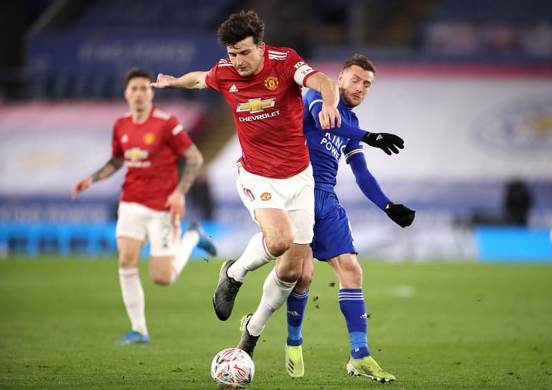 Manchester United captain Harry Maguire in action against Leicester City in the FA Cup