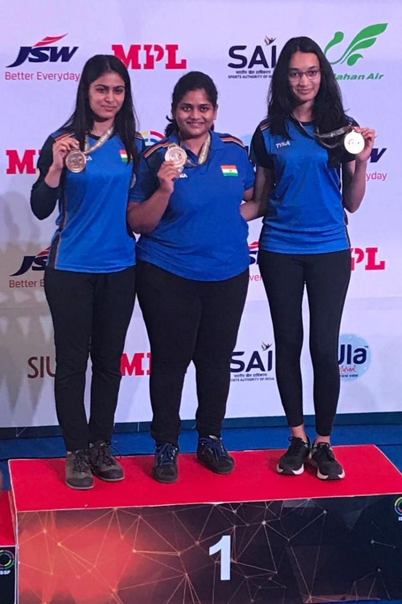 ISSF World Cup 2021, 25m Pistol women team event winners ( Image credits: SAI Twitter)