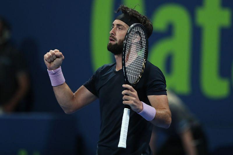 Nikoloz Basilashvili after beating Roger Federer