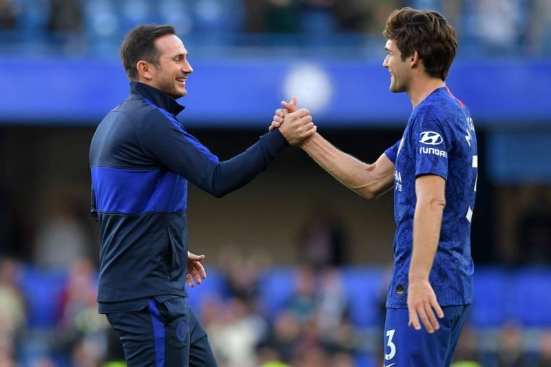 Marcos Alonso (right) was frozen out of the Chelsea squad under Lampard.