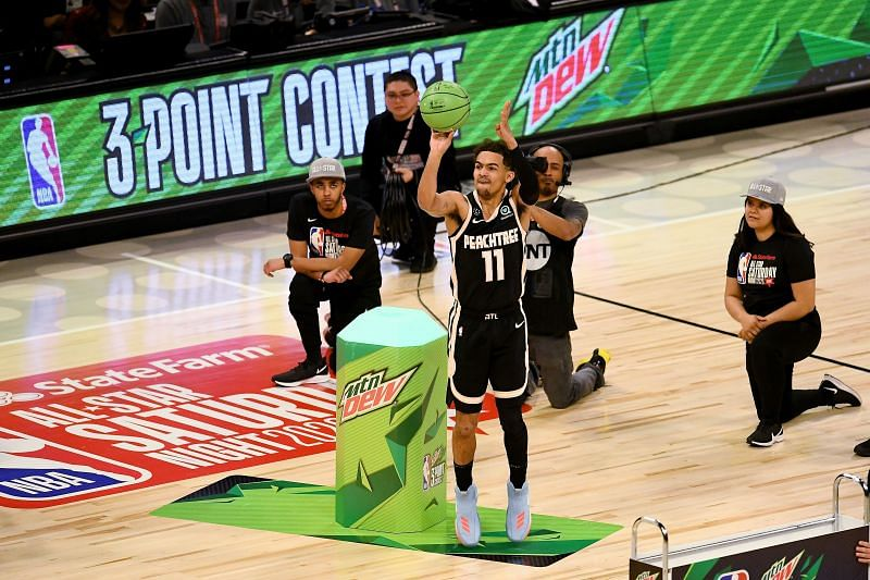 Trae Young #11 of the Atlanta Hawks attempts a shot in the 2020 NBA All-Star - MTN DEW 3-Point Contest. (Photo by Stacy Revere/Getty Images)