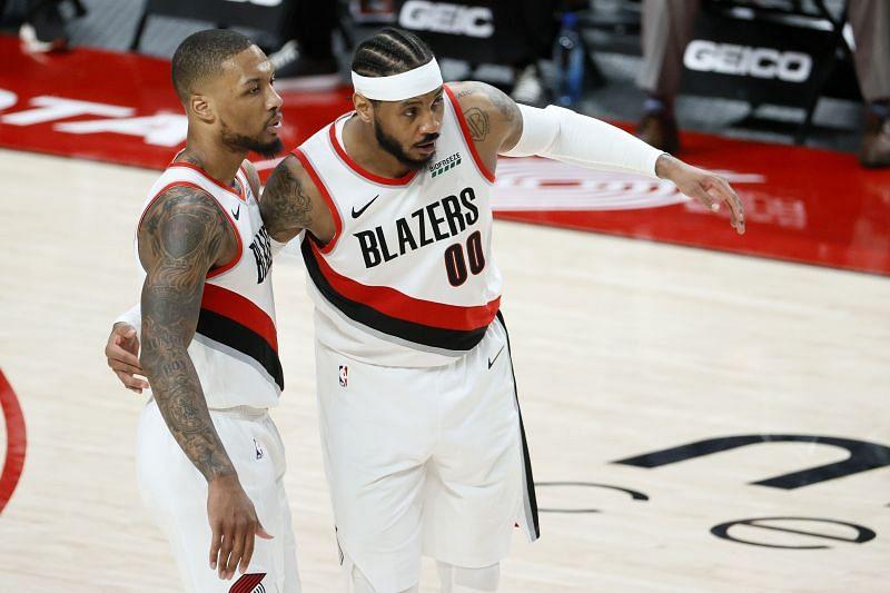 Portland Trail Blazers stars Damian Lillard and Carmelo Anthony