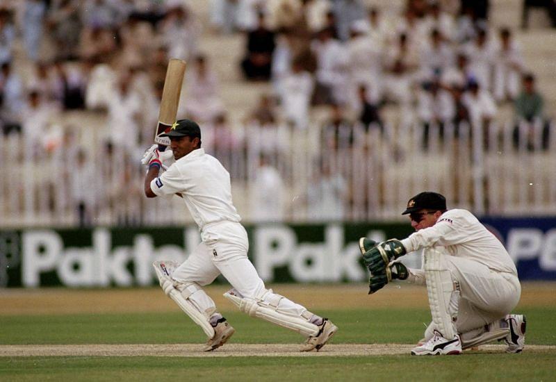 Saeed Anwar, here seen batting against Australia, scored his career best 188*
