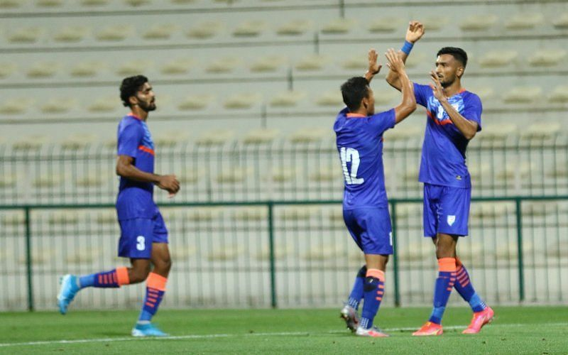 Manvir Singh scored in the 55th minute to restore parity against Oman. (Image: AIFF)