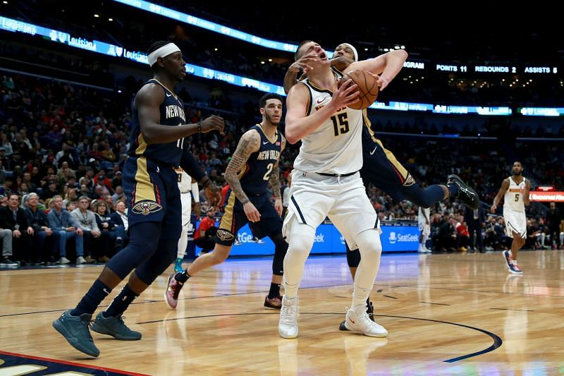 Nikola Jokic of the Denver Nuggets in NBA action against the New Orleans Pelicans