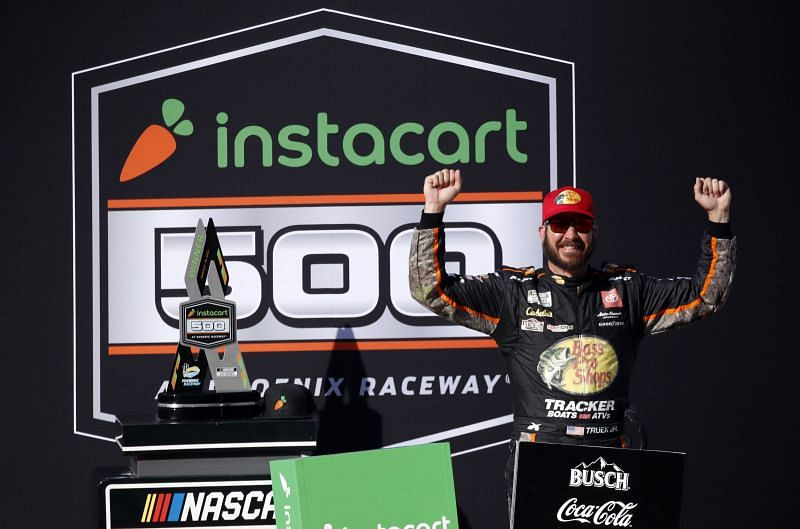 Martin Truex Jr. celebrates his win in the NASCAR Cup Series Instacart 500 at Phoenix Raceway. Photo/Getty Images