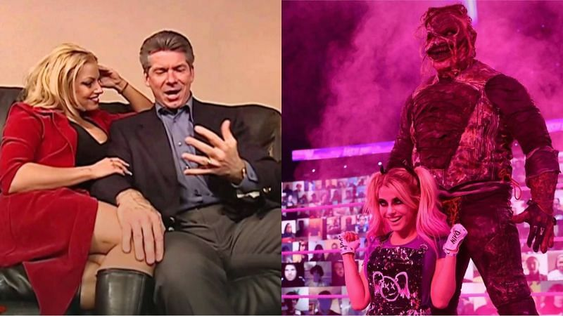 Trish Stratus and Vince McMahon (left), Alexa Bliss and The Fiend (right)