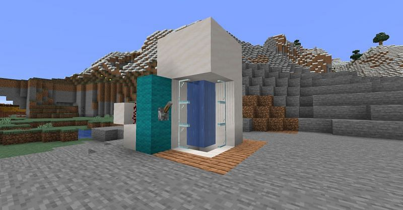 A completed fully functional Minecraft shower. (Image via Minecraft)