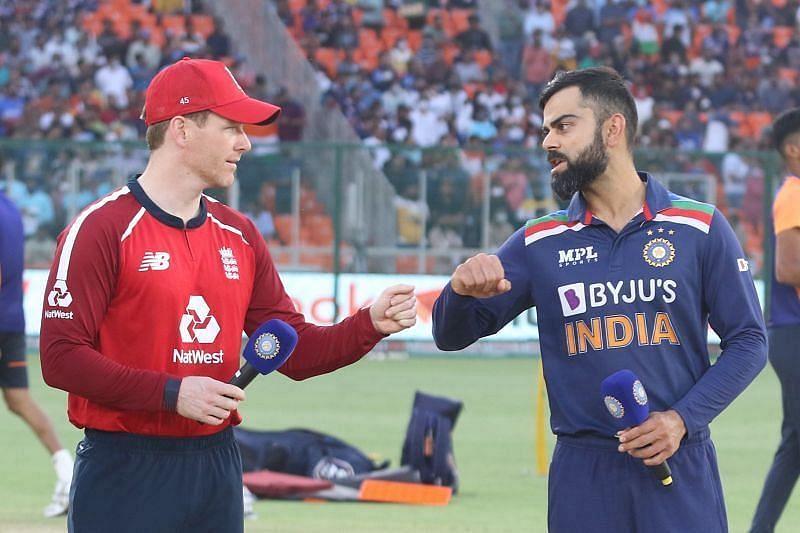 Skippers Eoin Morgan(L) and Virat Kohli