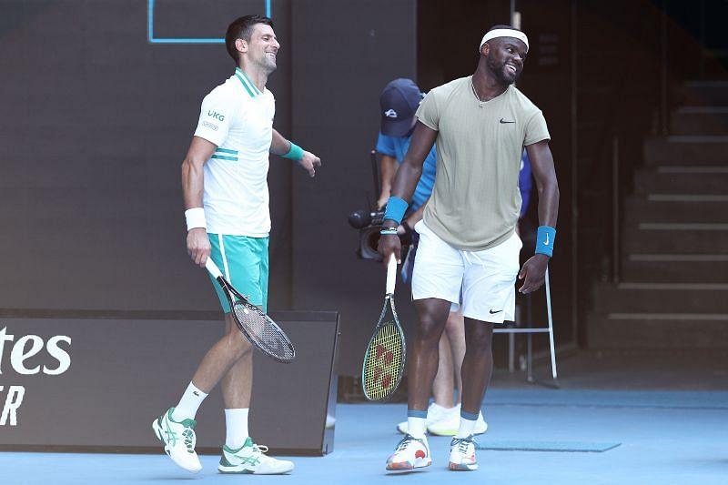 Novak Djokovic and Frances Tiafoe during their second round match in Melbourne