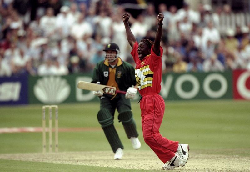 Henry Olonga afer taking the final wicket in the encounter