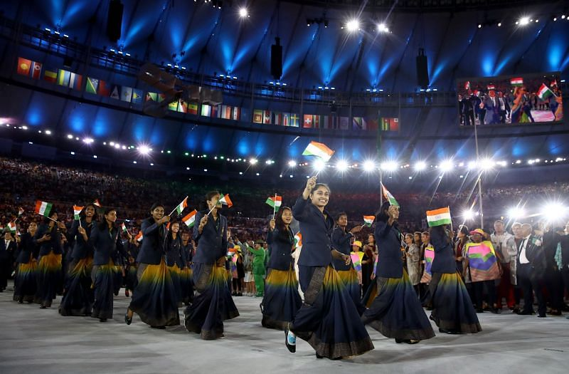 Indian Athletes enter the stadium during the Opening Ceremony of the Rio 2016 Olympic Games in Rio de Janeiro, Brazil