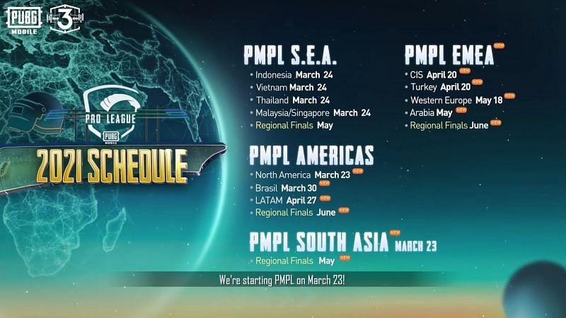 PUBG Mobile esports schedule announcement