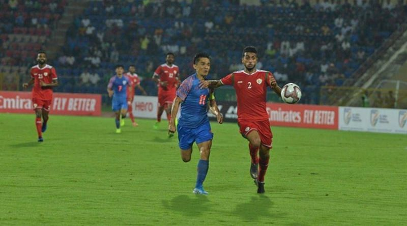 India lost 1-2 to Oman in the AFC Asian Cup 2023/FIFA World Cup 2022 qualifiers in Guwahati in 2019.