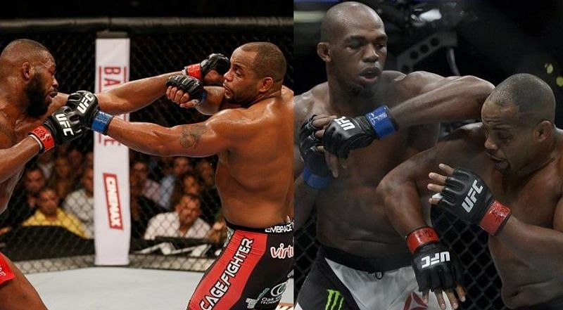 Jon Jones vs. Daniel Cormier at UFC 182 (left) and UFC 214 (right)