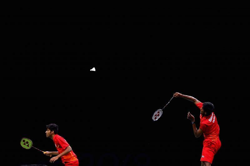 Chirag Shetty (L) and Satwiksairaj Rankireddy in action