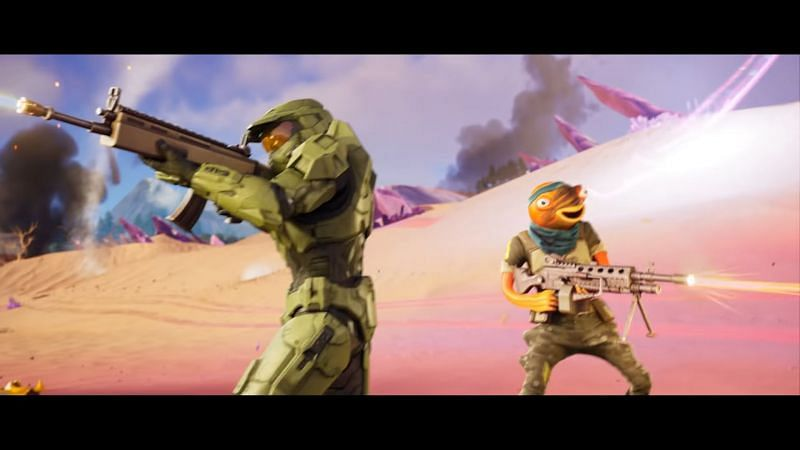 Master Chief and Fishstick laying down some lead (Image via Epic Games/Fortnite)
