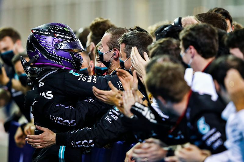Lewis Hamilton was able to fend off Max Verstappen to win the Bahrain Grand Prix. Photo: Mark Thompson/Getty Images.