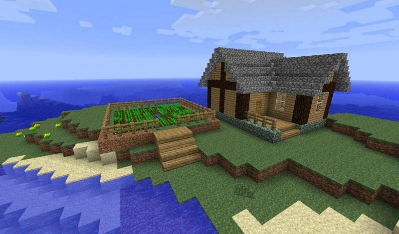 Minecraft L-shaped house (Image via planetminecraft)