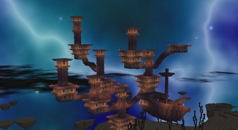 End Cities are rare structures that spawn on the outskirts of The End in Minecraft (Image via u/BirbCart on Reddit)