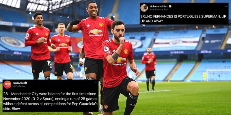 Twitter explodes as Manchester United break Manchester City's historic win streak with 2-0 win at Etihad Stadium