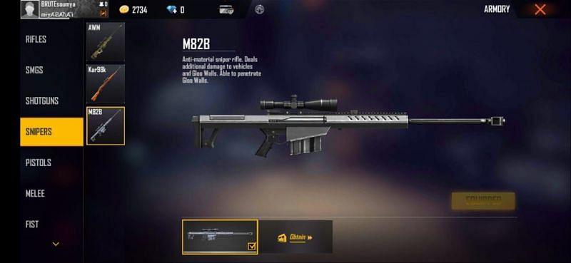 Free Fire में M82B