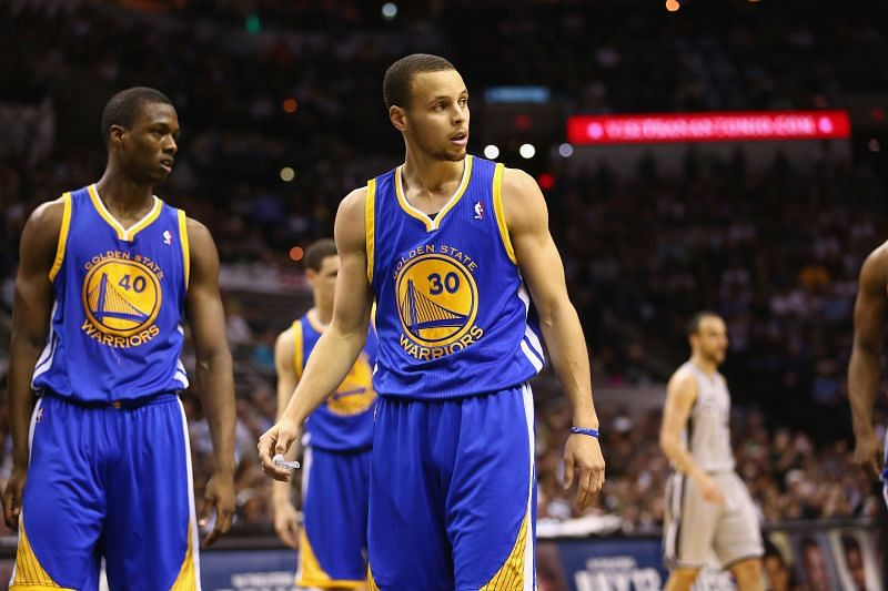 Harrison Barnes with Stephen Curry of the Warriors