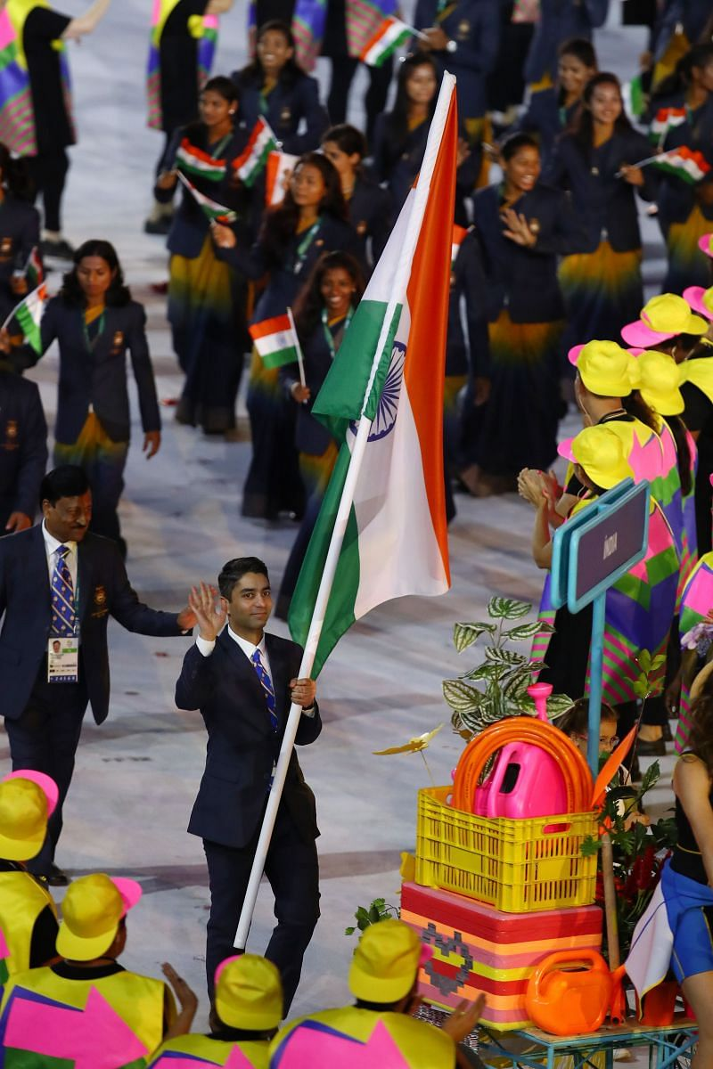 Abhinav Bindra carries the Indian flag during the Opening Ceremony of the 2016 Rio Olympics in Rio de Janeiro, Brazil