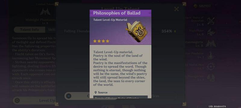 Philosophies of Ballard- Talent level up material