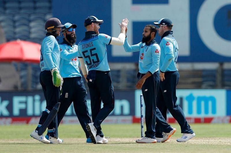 Adil Rashid celebrates a wicket with teammates. Pic: BCCI