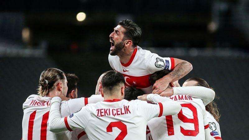 Turkey celebrates after scoring a goal