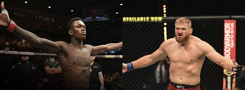 Israel Adesanya (Left) has a two-inch advantage over Jan Blachowicz in height and reach