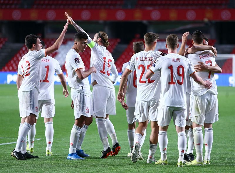 Spain in action against Greece - FIFA World Cup 2022 Qatar Qualifier