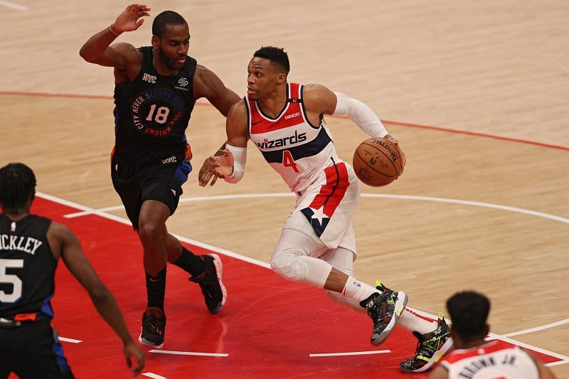 Russell Westbrook (#4) of the Washington Wizards dribbles against the New York Knicks.