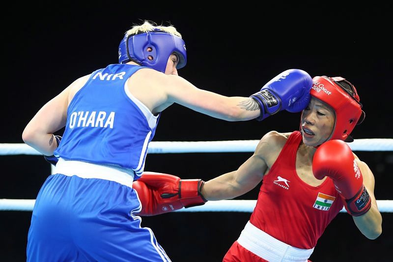 MC Mary Kom of India (Red) at the Gold Coast 2018 Commonwealth Games in April 2018