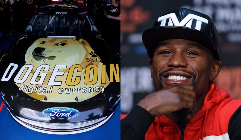 A Dogecoin advertisement and Floyd Mayweather