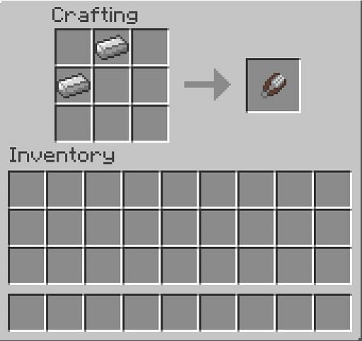 In the first row, there should be 1 iron ingot in the second cell. In the second row, there should be 1 iron ingot in the first cell.