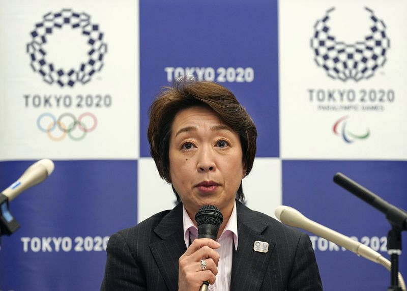Seiko Hashimoto attends a media huddle related to the Tokyo Olympics earlier this month