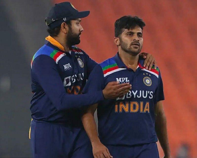 Rohit Sharma with Shardul Thakur. Pic: BCCI