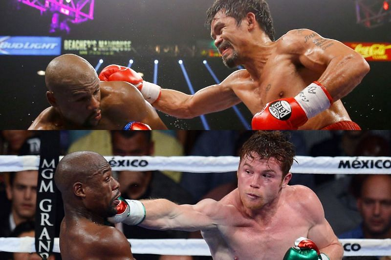 Floyd Mayweather against Manny Pacquiao (top), Floyd Mayweather against Saul Alvarez (bottom)