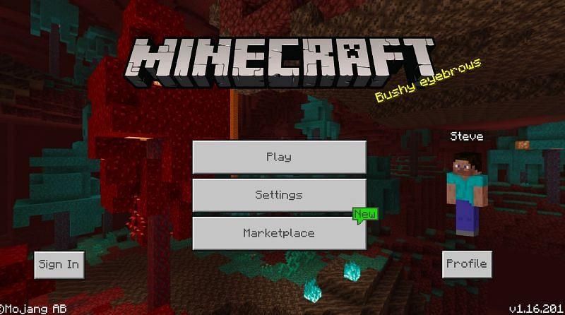 Minecraft Bedrock main menu (Image via Minecraft.gamepedia)