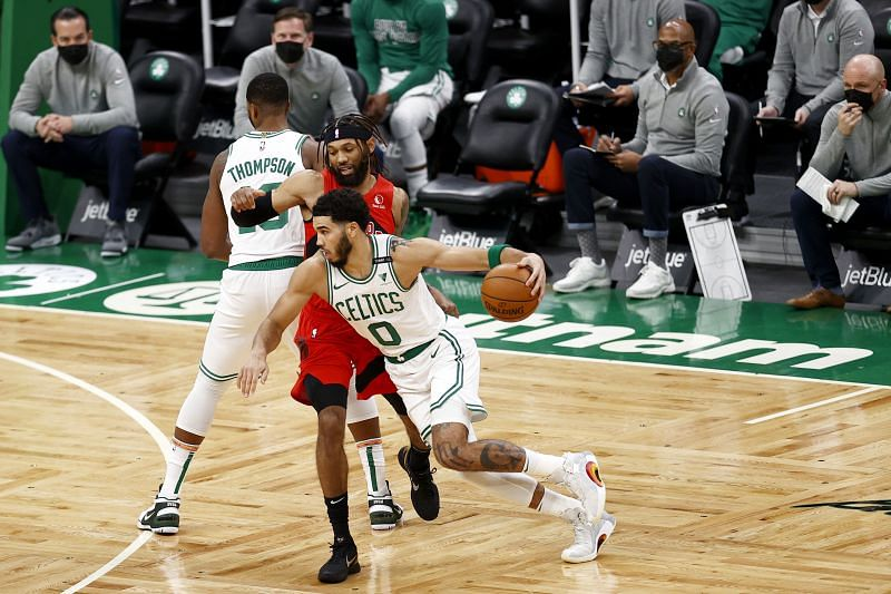 Jayson Tatum #0 of the Boston Celtics drives towards the basket. (Photo by Maddie Meyer/Getty Images)