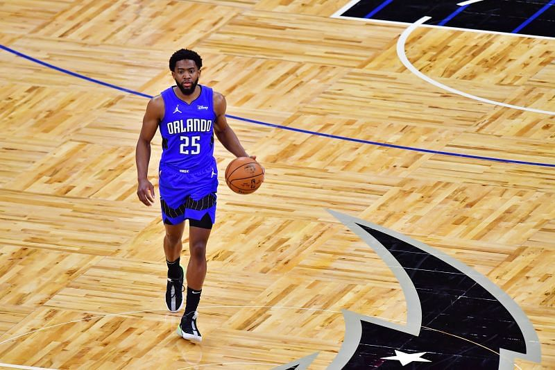 Chasson Randle brings the ball up the court for the Orlando Magic.