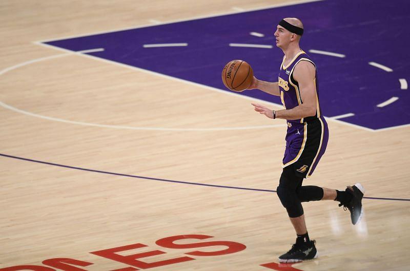 Alex Caruso (#4) of the LA Lakers