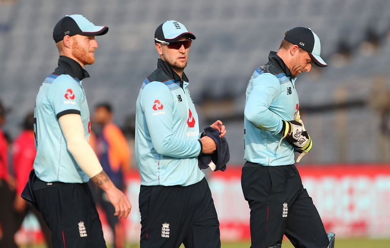 Ben Stokes, Liam Livingstone and Jos Buttler (from left to right)